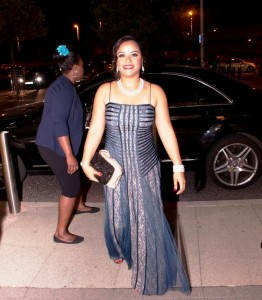 Flower Girl Director Michelle Bello stunned the crowd upon arrival at the premiere wearing a gorgeous blue dress with a diamond necklace and bracelet.