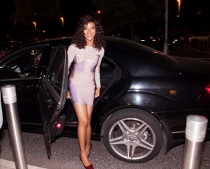 Lead star of the film of Flower Girl, sexy Damilola Adegbite arrives for the Premiere.